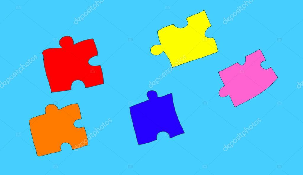 Lot Colored Puzzle  Stock Photo