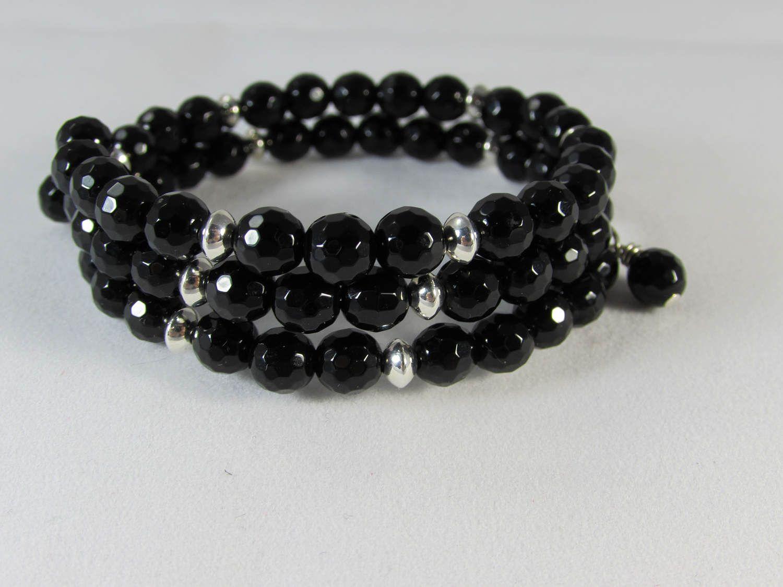 Black Swarovski Crystal Bead & Sterling Silver Memory Wire Bracelet/ Black Crystal Bracelet/ Swarovski Crystal Bracelet/ Hand Crafted by NellieAnneDesigns on Etsy