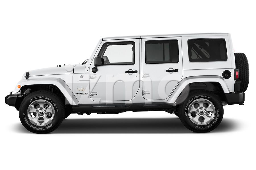 Side View Of Silver 2013 Jeep Wrangler Unlimited Sahara Suv Jeep