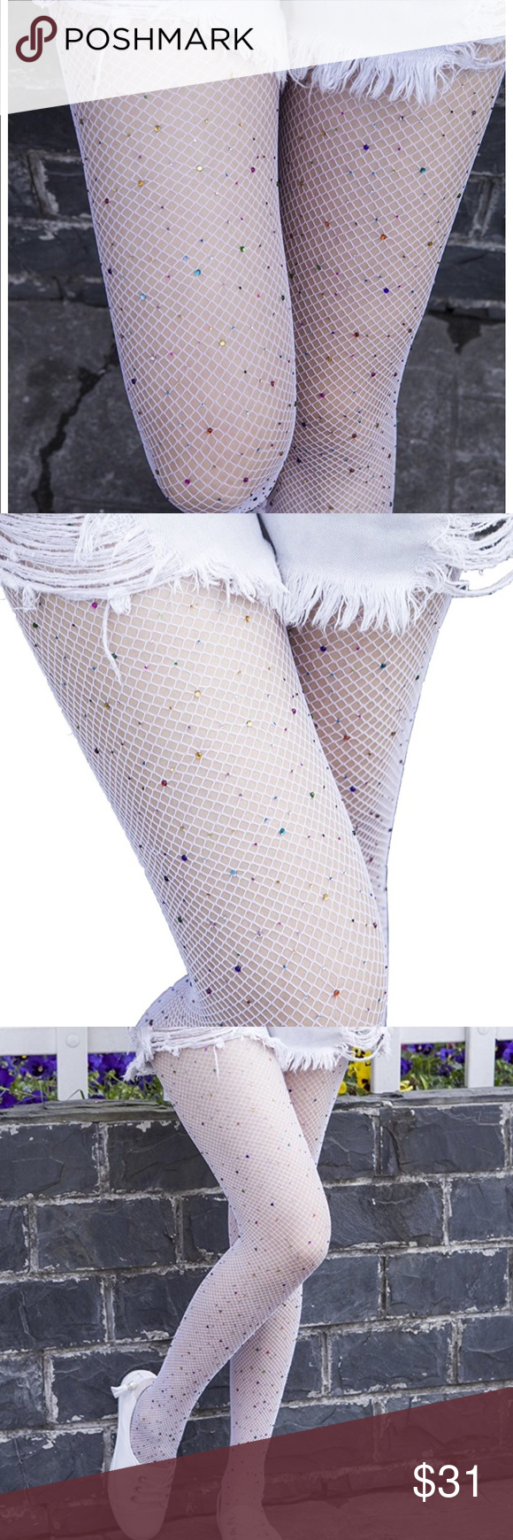 03a9f79975e Embellished - colored crystal white fishnets OSA Super cute ...