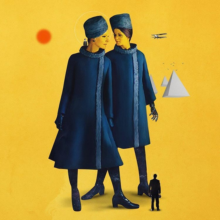<p>Digital collage artist, Erdem Duygu vintage mixed media collages are filled with varied graphics, from pinups to old cars and elements such as geometric shapes or clouds to give shape to gorgeous f