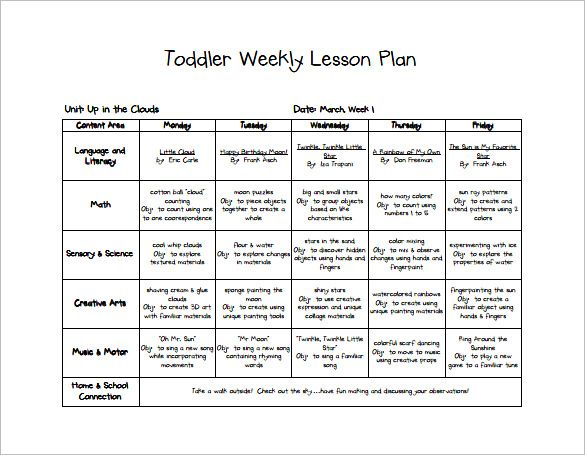 Toddler Weekly Lesson Plan Lesson Plan Template Pinterest   Free Weekly  Lesson Plan Templates  Free Weekly Lesson Plan Templates