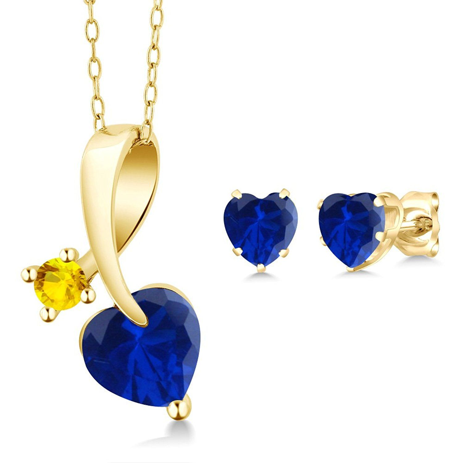 ct heart shape blue simulated sapphire k yellow gold pendant
