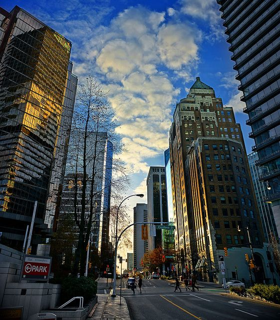Vancouver Bc Canada: Vancouver Downtown At Sunset