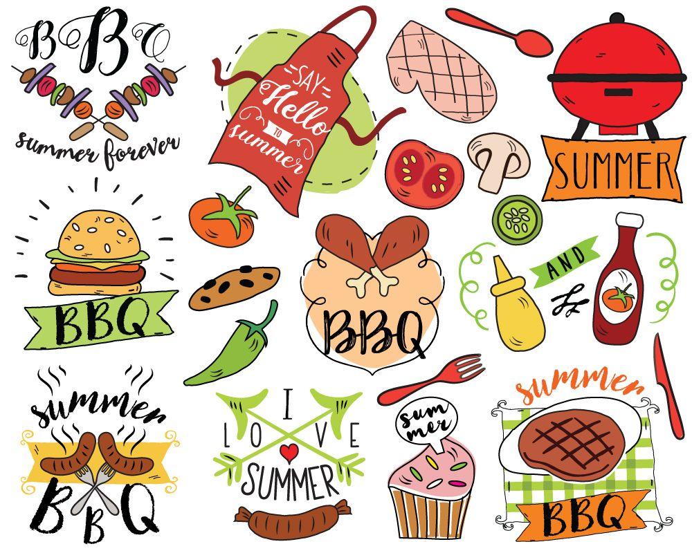 Cookout border clipart hot dog cookout invite stock vector art - Summer Bbq Clipart Vector Barbecue Clipart Summer Doodle Picnic Clipart Summer
