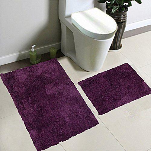 2pcs Solid Microfiber Shaggy Furry Bathroom Bath Mat Set ...