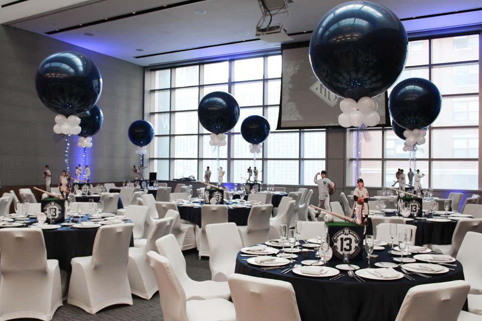 Ny yankees themed bar mitzvah centerpieces with navy