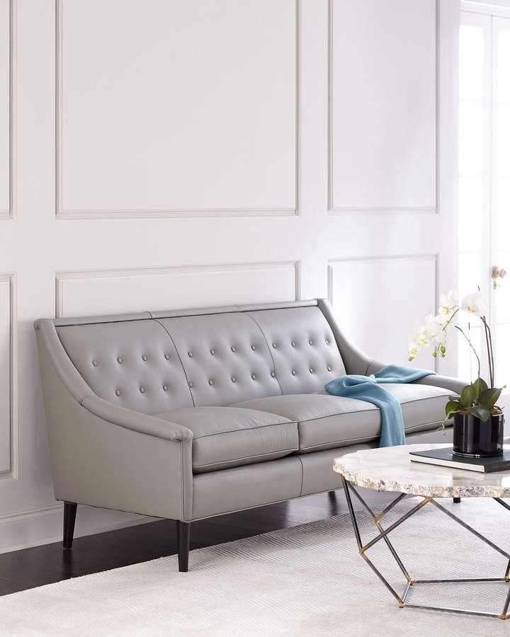 Gerald Tufted-Back Leather Sofa