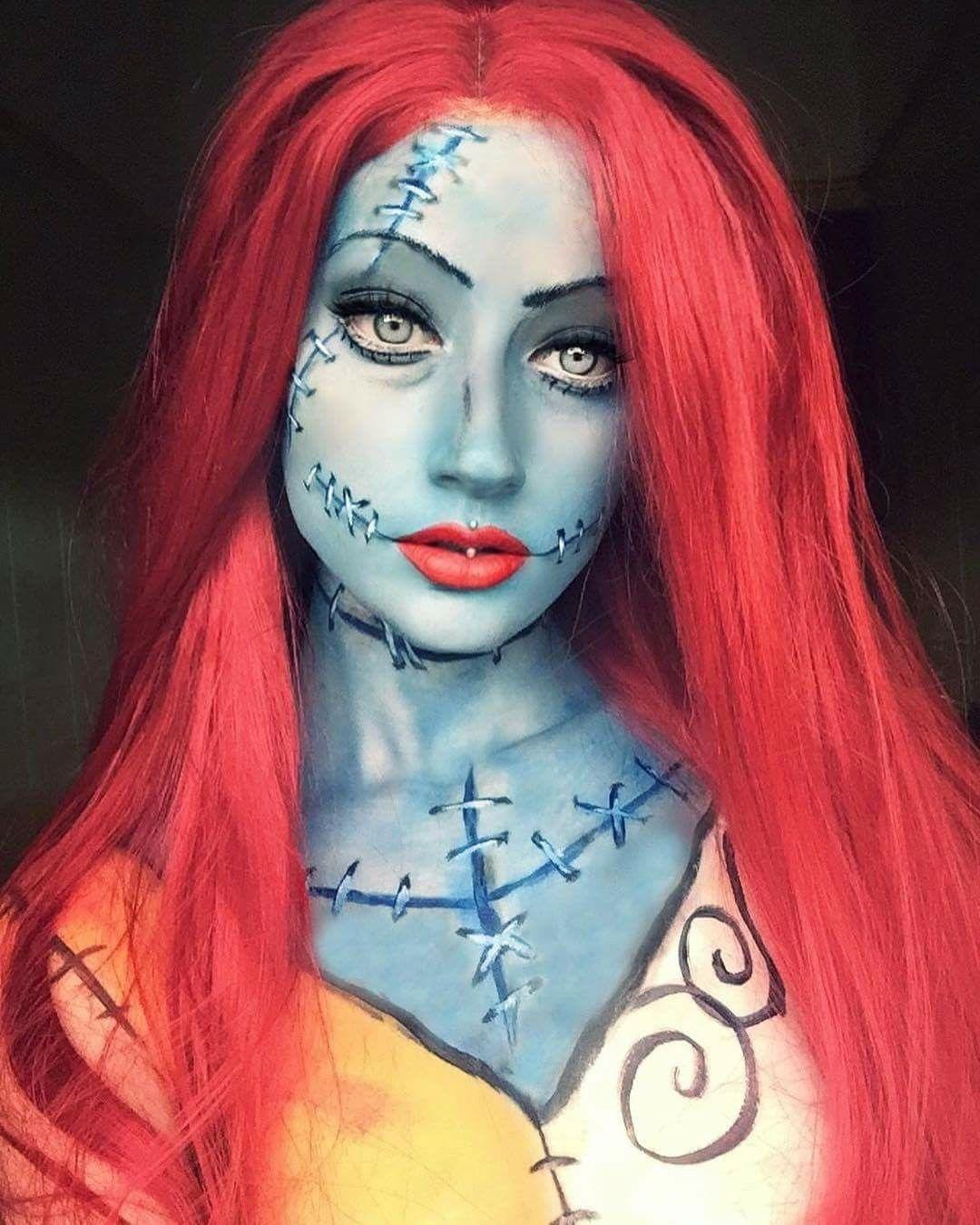 Sally makeup Nightmare before christmas costume, Sally