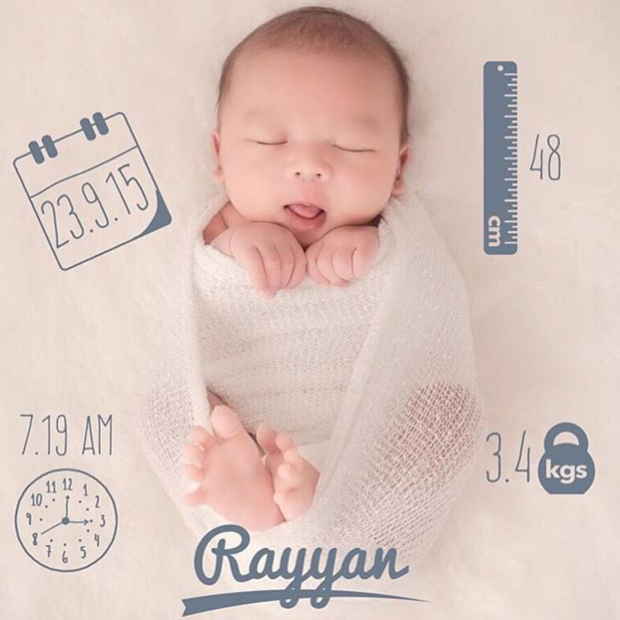 Birth Announcement made with Baby Pics App Download Baby Pics – Create a Birth Announcement