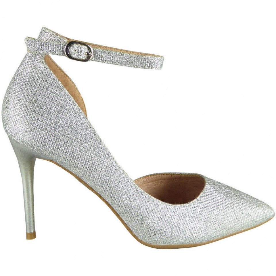 Silver And Diamonds Ankle Strap Heels Chiq Com Rhinestone High Heels Heels Rhinestone Shoes