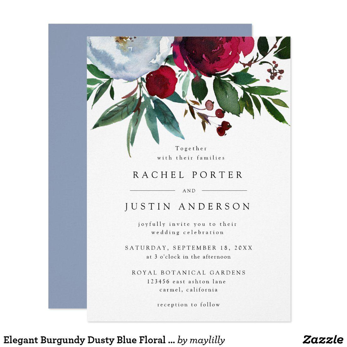 Elegant Burgundy Dusty Blue Floral Rustic Wedding