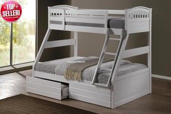 White Wooden Triple Bunk Beds 520 With Drawers Mattresses