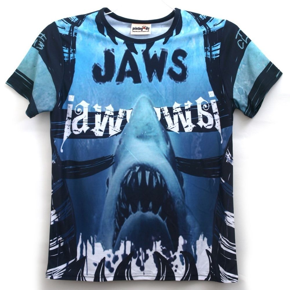 All Over Full Printing Handmade Custom Men's Graphic Jaws T Shirts ...