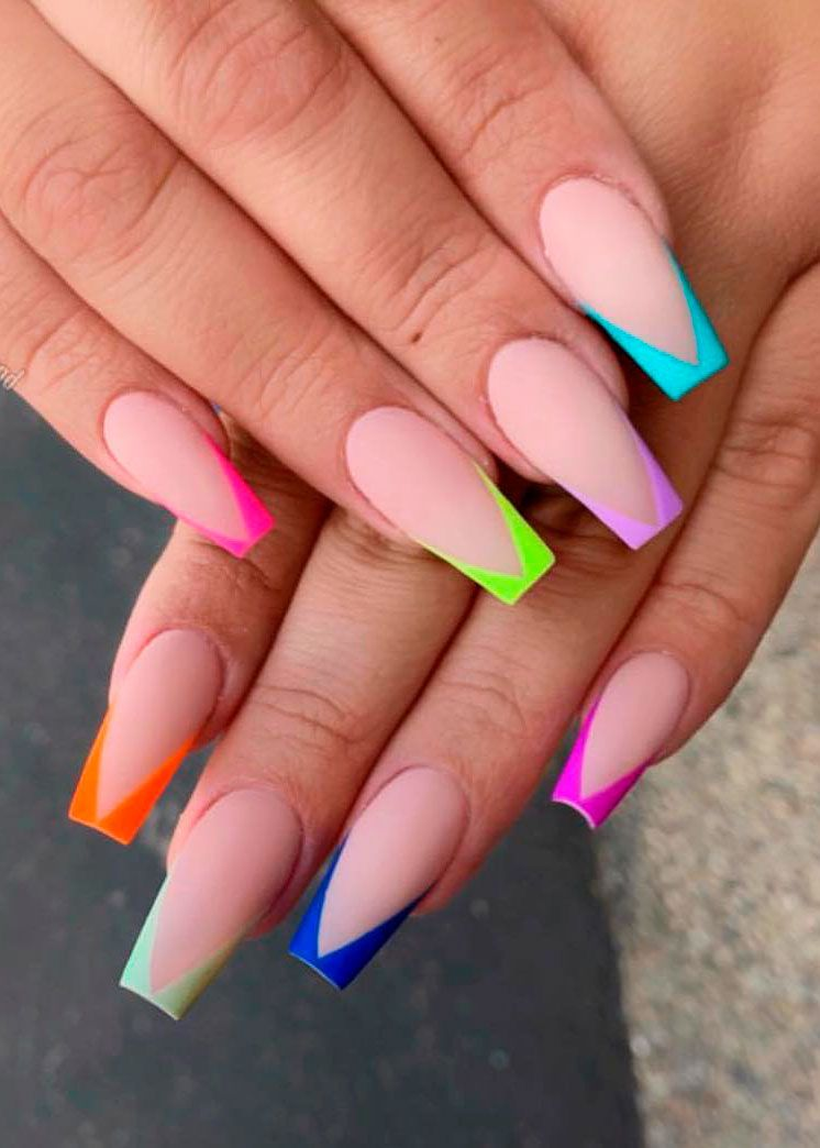 Cute multi color french tip coffin nails long style | Coffin nails ...