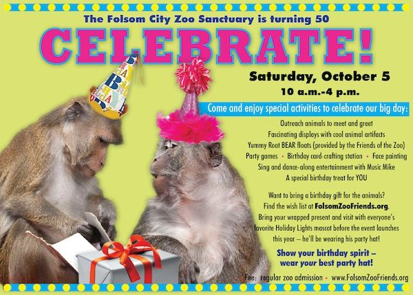Folsom Zoo is turning 50 on October 5, 2013. It looks like they're planning a fun, family-friendly party.