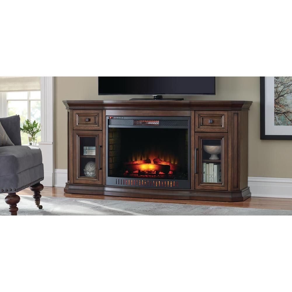 Stone Electric Fireplace Tv Stand Home Decorators Collection Georgian Hills 65 In Bow Front Tv