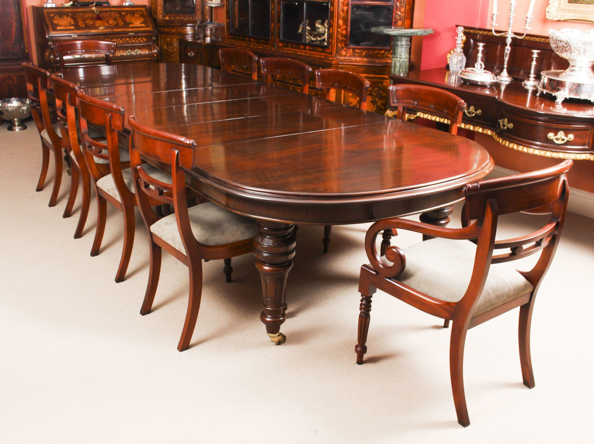 Antique 12ft Victorian D End Mahogany Dining Table C1870 10