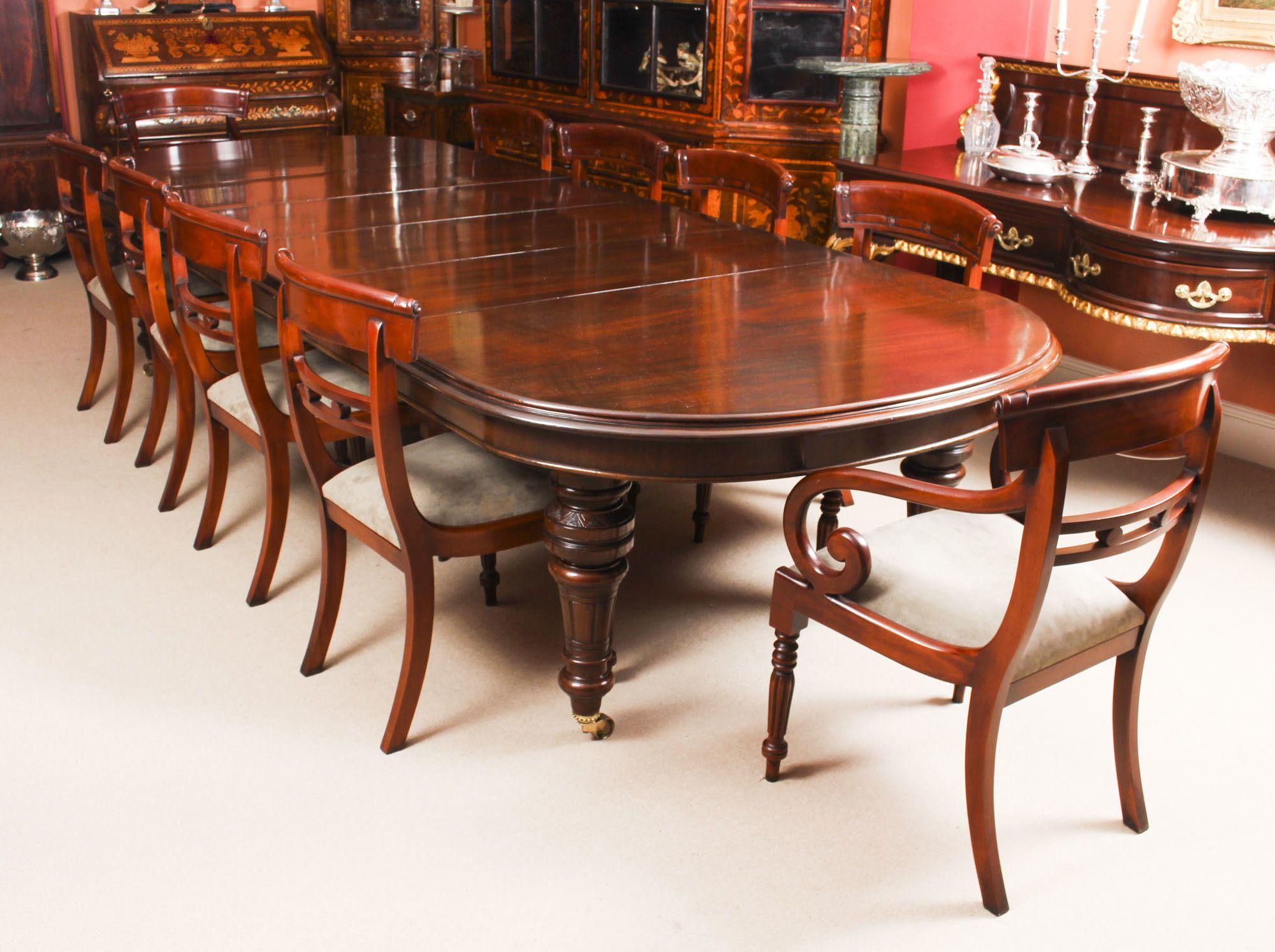 Antique 12ft Victorian D End Mahogany Dining Table C1870 10 Chairs Mahogany Dining Table Dining Table Victorian Dining Tables