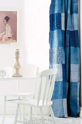 gorgeous blue patchwork curtain lapwerk gordijnen boheense gordijnen denim decor denim ambachten