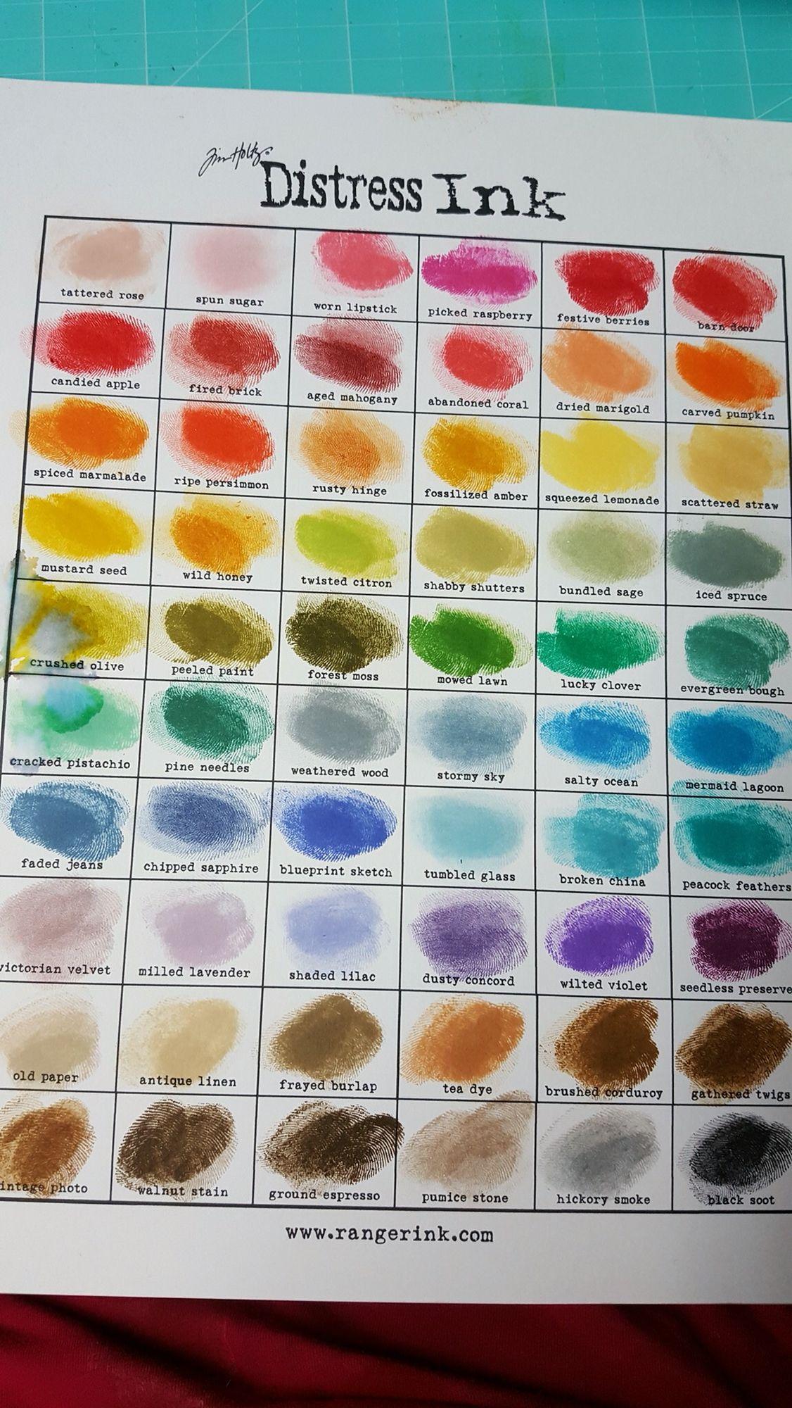 Tim Holtz Ranger Distress Ink Chart Cindy S Photo July 2016 60 Colours Ranger Distress Ink Distress Ink Distress Ink Techniques