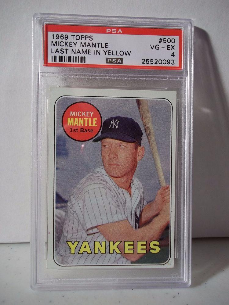 1969 topps mickey mantle psa graded vgex 4 baseball card