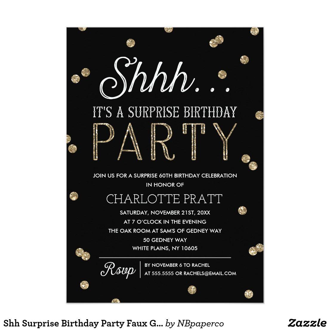 Shh Surprise Birthday Party Faux Glitter Confetti Invitation Zazzle Com Surprise Party Invitations Surprise Birthday Invitations Surprise Birthday Party Invitations