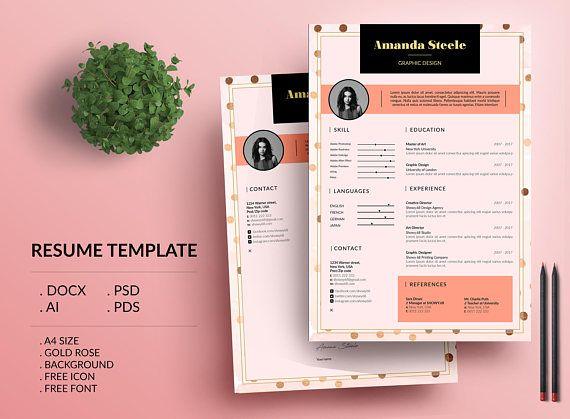 Sale 20 Off Gold Rose Resume Template Cv Template Etsy Resume Template Cv Resume Template Resume