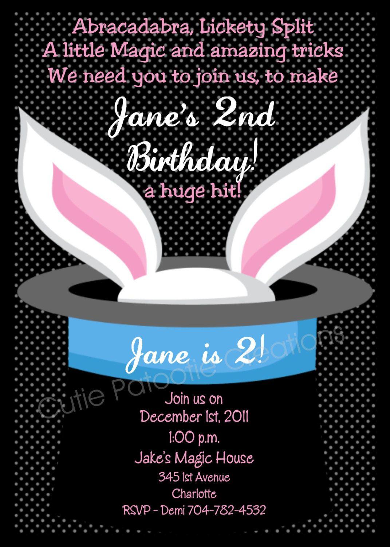 Magic Show Birthday Invitation Magic Show Birthday Party Invitation ...