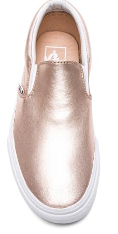 Gold metallic Vans   Rose gold shoes