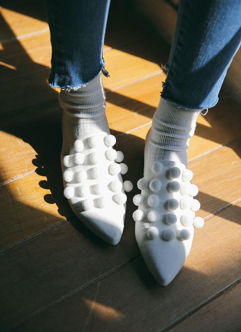 Pom-Pom Pointed Toe Slippers | STYLENANDA