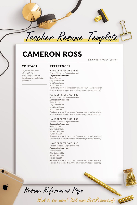 Teacher Resume Template Cameron Ross Teacher resume