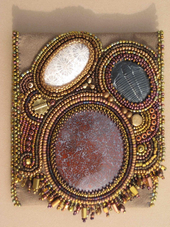 Beaded business card holder: Fossils in Gold by SandeesArtwork ...
