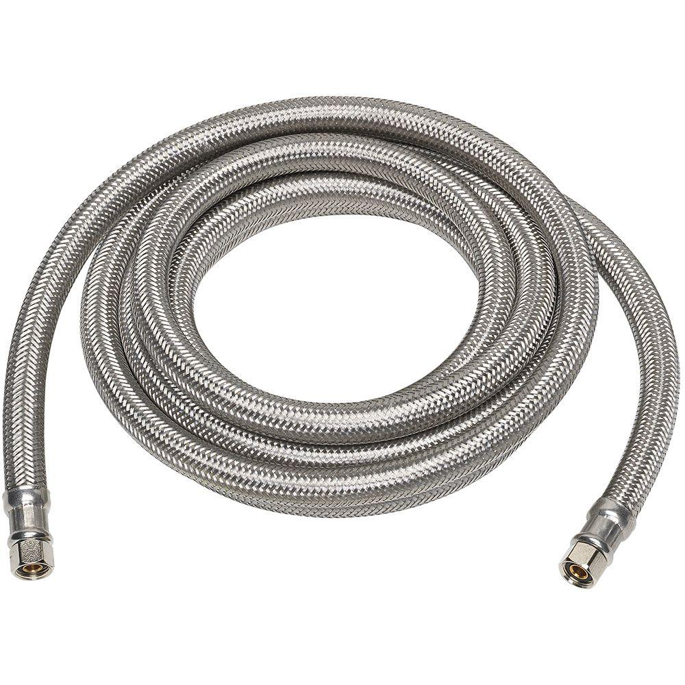 Everbilt 1 4 In X 1 4 In X 120 In Stainless Steel Ice Maker Supply Line 7253 120 14 2 Eb The Home Depot In 2020 Brass Compression Fittings Ice Maker Hose