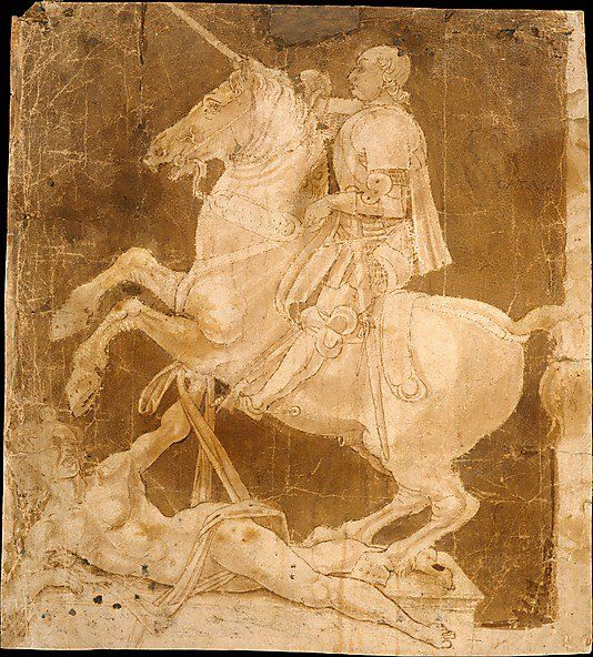 The Metropolitan Museum of Art, New York - Antonio Pollaiuolo (Italian, ca. 1432–1498) | Study for an Equestrian Monument | ca. 1482–83   Florentine painter, sculptor, engraver, and goldsmith Antonio Pollaiuolo made this study for an unexecuted equestrian monument. The subject of a victorious ruler on horseback is drawn from classical antiquity.