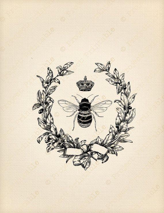 Instant Download Printable - Vintage Pretty HONEY BEE In ...