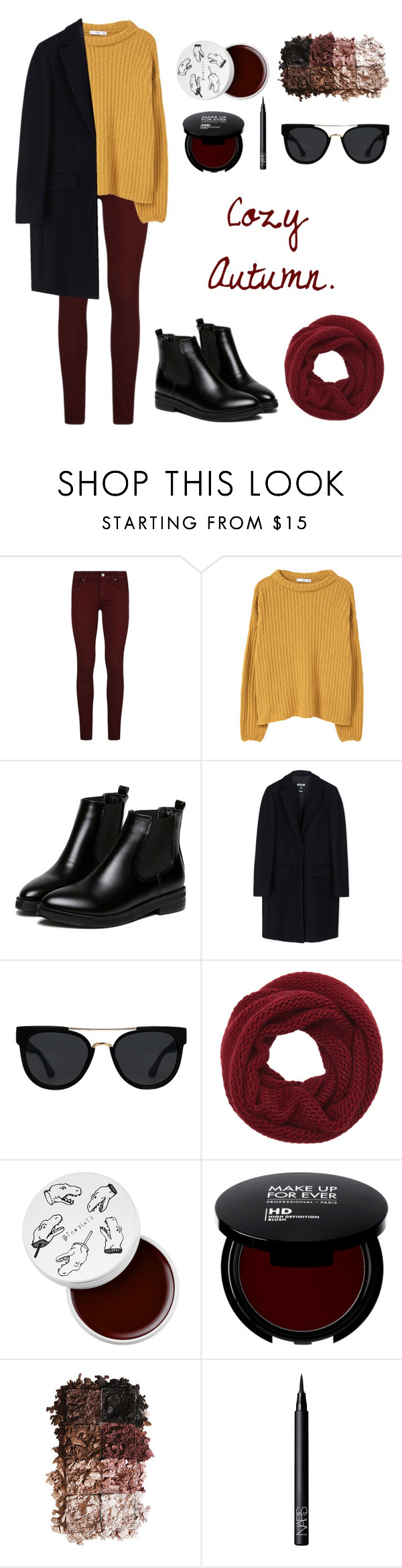 """""""Warm and sunshine."""" by killerfromnewgersey ❤ liked on Polyvore featuring Paige Denim, MANGO, WithChic, MSGM, Quay, Wyatt, too cool for school, LORAC and NARS Cosmetics"""