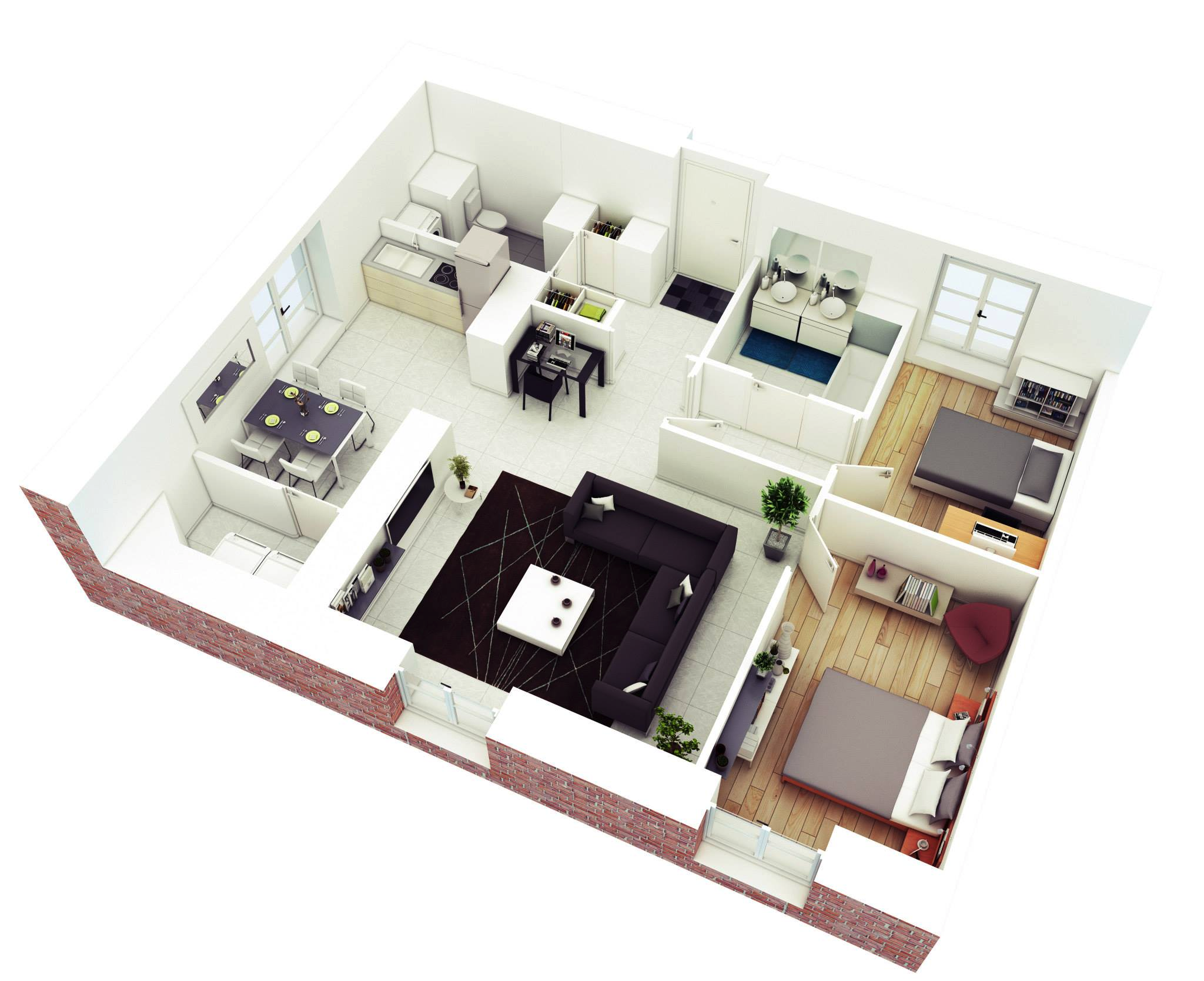 Open Neutral Apartment Png 2048 1668 2 Bedroom House Design Simple House Plans House Floor Plans