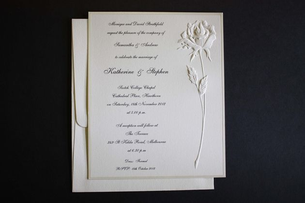 embossed rose card beautiful wedding invitations and wedding