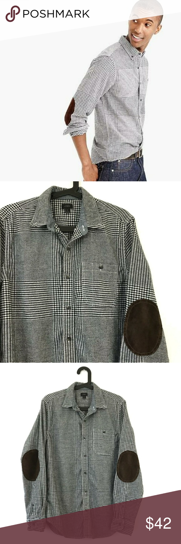 Flannel jacket with elbow patches  JCrew Elbow Patch Shirt in Glen Plaid Medium  My Posh Closet