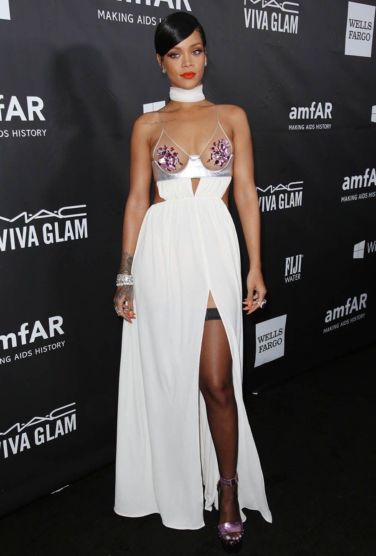 Rihanna spaghetti strap white dress amfar red carpet prom