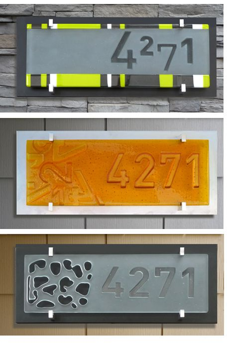 House Number Signs Utilizing Sandblasting And Kiln Carving Techniques