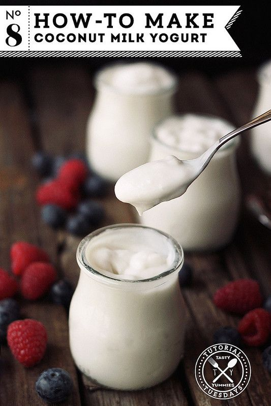 makes 1 quart yogurt  4 cups coconut milk 1 tablespoon maple syrup yogurt starter or probiotic powder (this amount can vary) starch (like tapioca or arrowroot) (optional)  1) Heat the coconut milk and sweetener to barely a boil and remove from heat. In a glass bowl, allow the milk to cool to 115º F. While the coconut milk is cooling, if using, dissolve the thickener in another bowl using the necessary method. (A small amount of cool water for the gelatin, hot water for the agar agar and so…