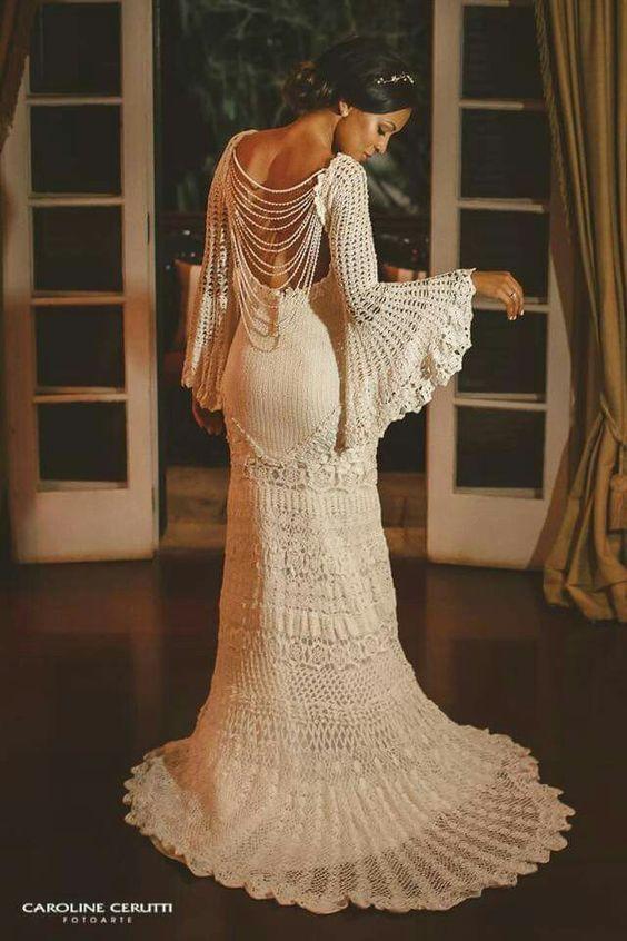 Mais de 30 vestidos de casamento, feitos de crochê para você se ...