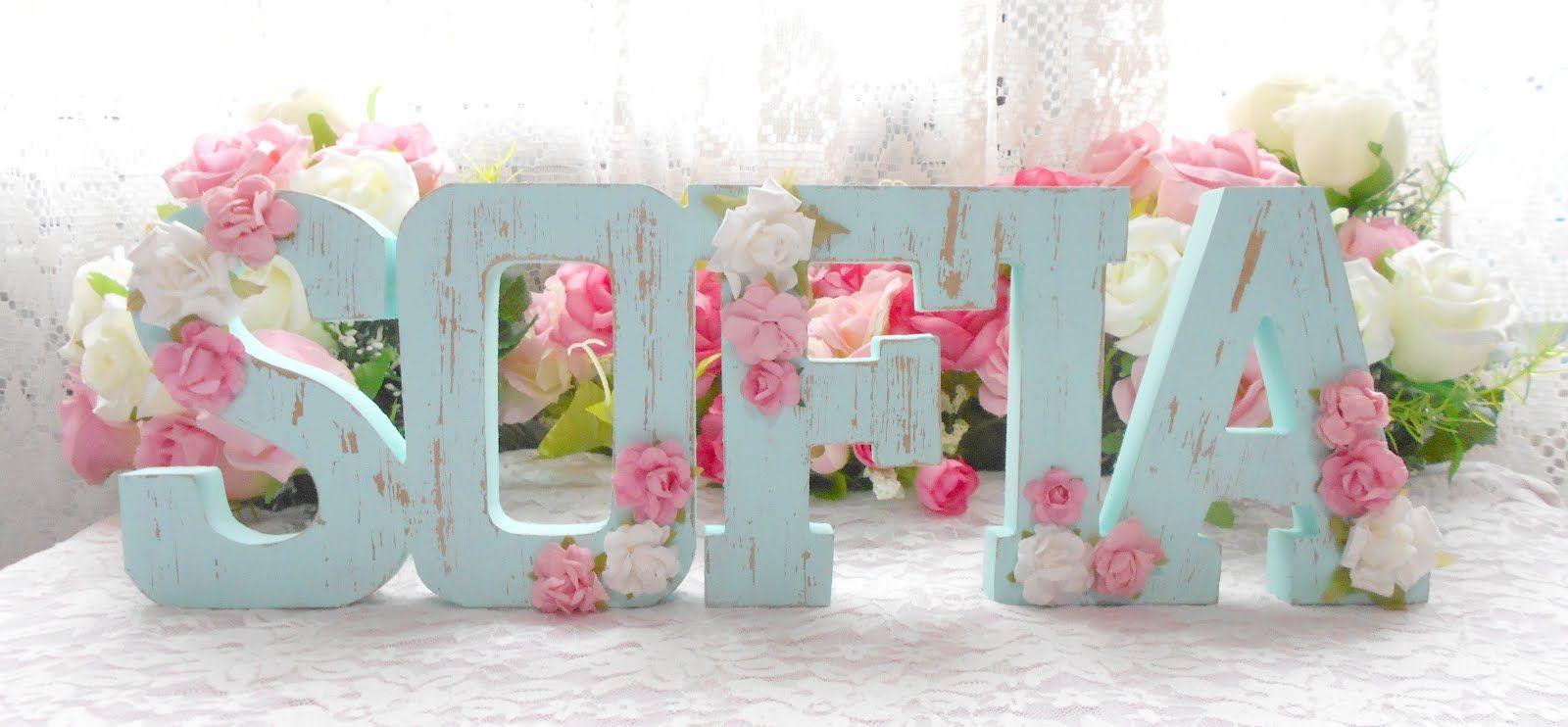Nombres letras decoradas shabby chic candy hasta 5 letras 475 00 fiesta isabella - Letras bebe decoracion ...