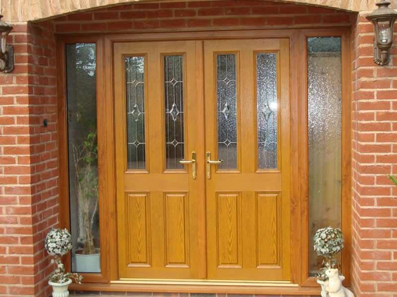 13 light oak front of property plus colour work in arch for Wood effect upvc french doors