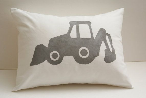 Customize your Own -- Hand Painted Pillow Cover -- 12 by 16 inch -- Backhoe