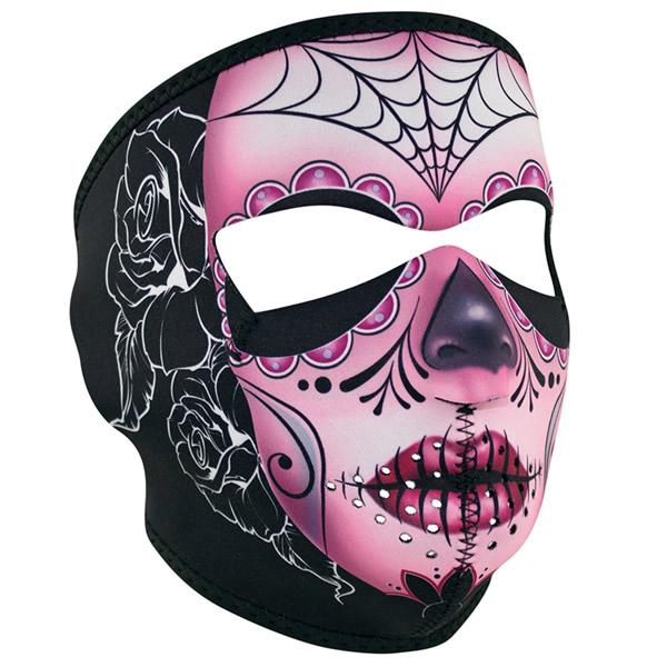 Zan Headgear Sugar Skull Purple Reversible Cold Weather Neoprene Half Face Mask