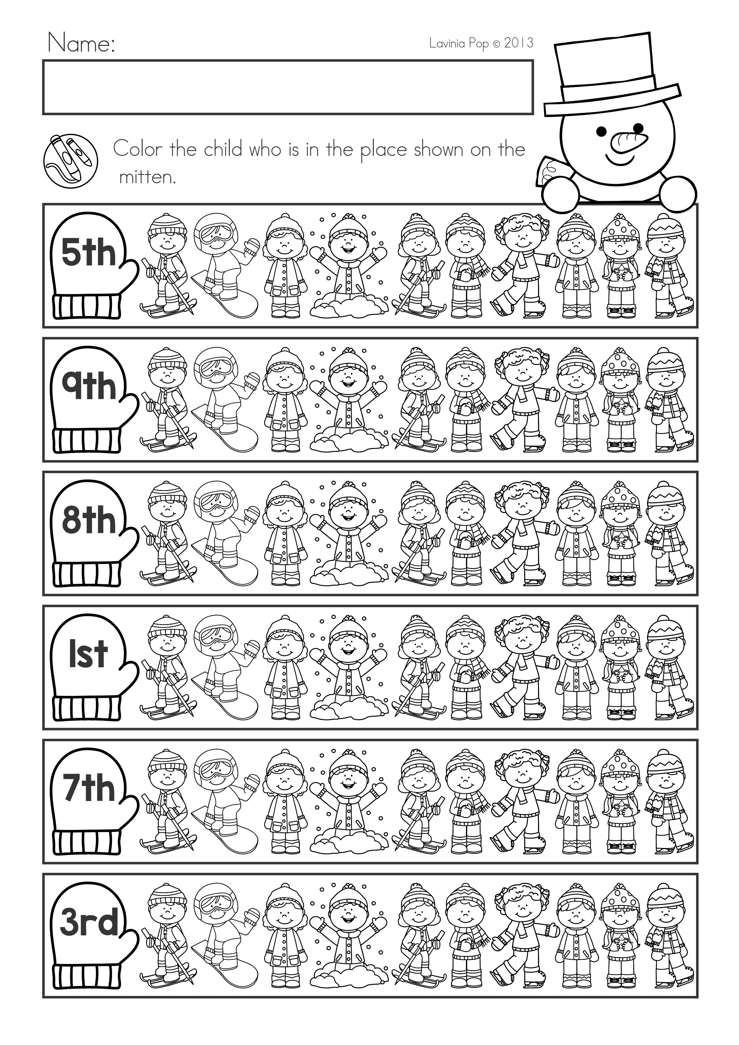 Winter Math Worksheets Activities No Prep For Kindergarten Ordinal Numbers Winter Math Worksheets Winter Math Math Worksheets