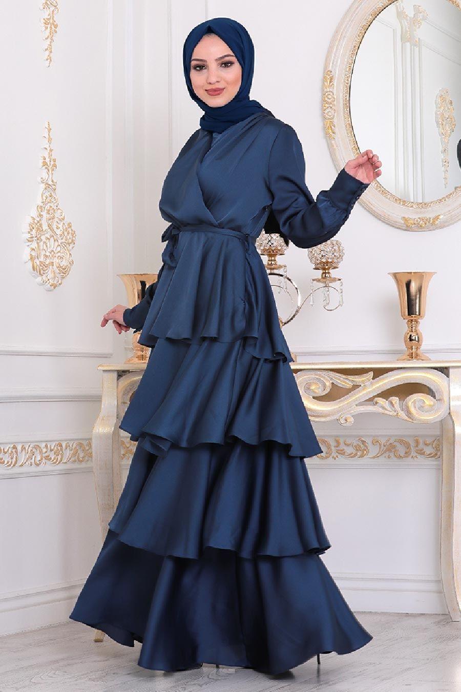 Tesetturlu Abiye Elbise Firfirli Krep Saten Lacivert Tesettur Abiye Elbise 22701l Tesetturisland Com 2020 Elbise The Dress Elbise Modelleri